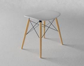 Modern stool white and wood 3D model PBR