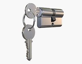 3D model Euro Profile Cylinder Barrel Lock with keys