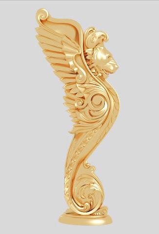 Classic 3D model of interior CNC sculpture gold inlaid