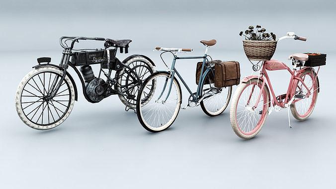 3 vintage bikes 3d model max obj mtl fbx 1