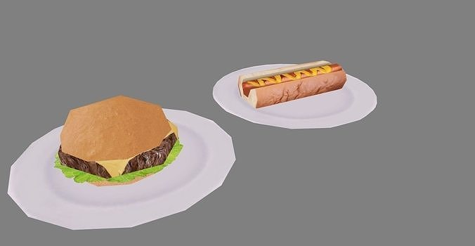 burger and hot dog 3d model obj mtl 3ds fbx stl blend dae 1