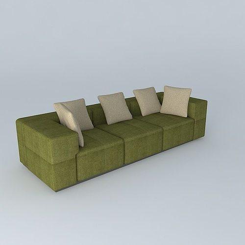 green sofa 3d model max obj 3ds fbx stl dae 1