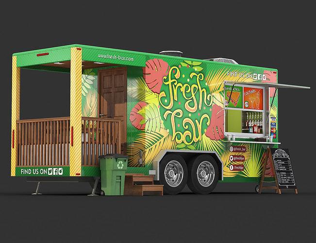 food trailer 3d model max obj mtl fbx 1