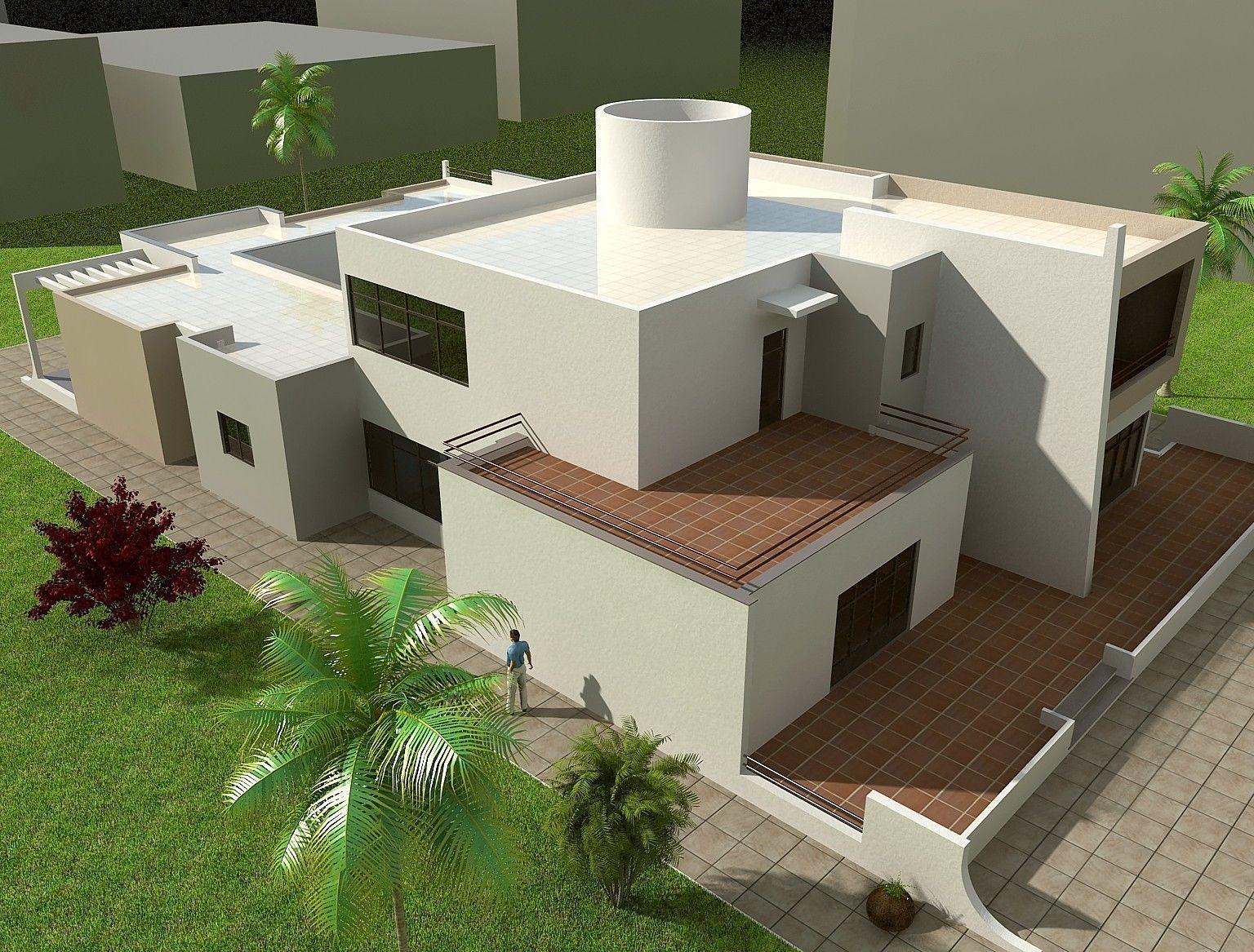3d modern house model two story 3d model max fbx skp mat