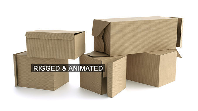set of 5 cardboard boxes - rigged and animated 3d model rigged animated obj mtl fbx c4d 1