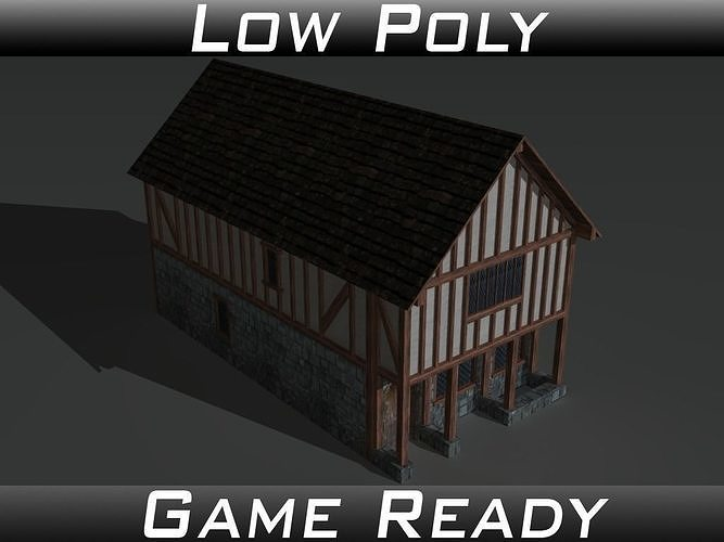 medieval building 02 3d model obj mtl 3ds fbx 1