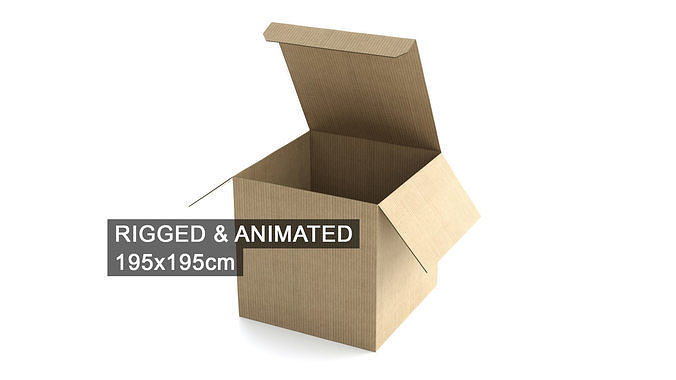 cardboard box 195x195cm - rigged and animated 3d model rigged animated obj mtl fbx c4d 1