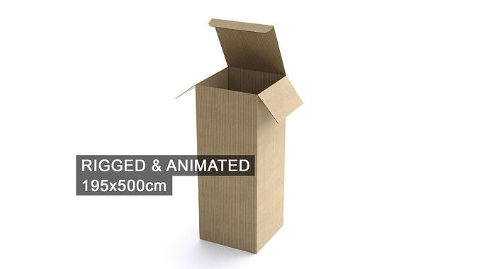 cardboard box 195x500cm - rigged and animated 3d model rigged animated obj mtl fbx c4d 1