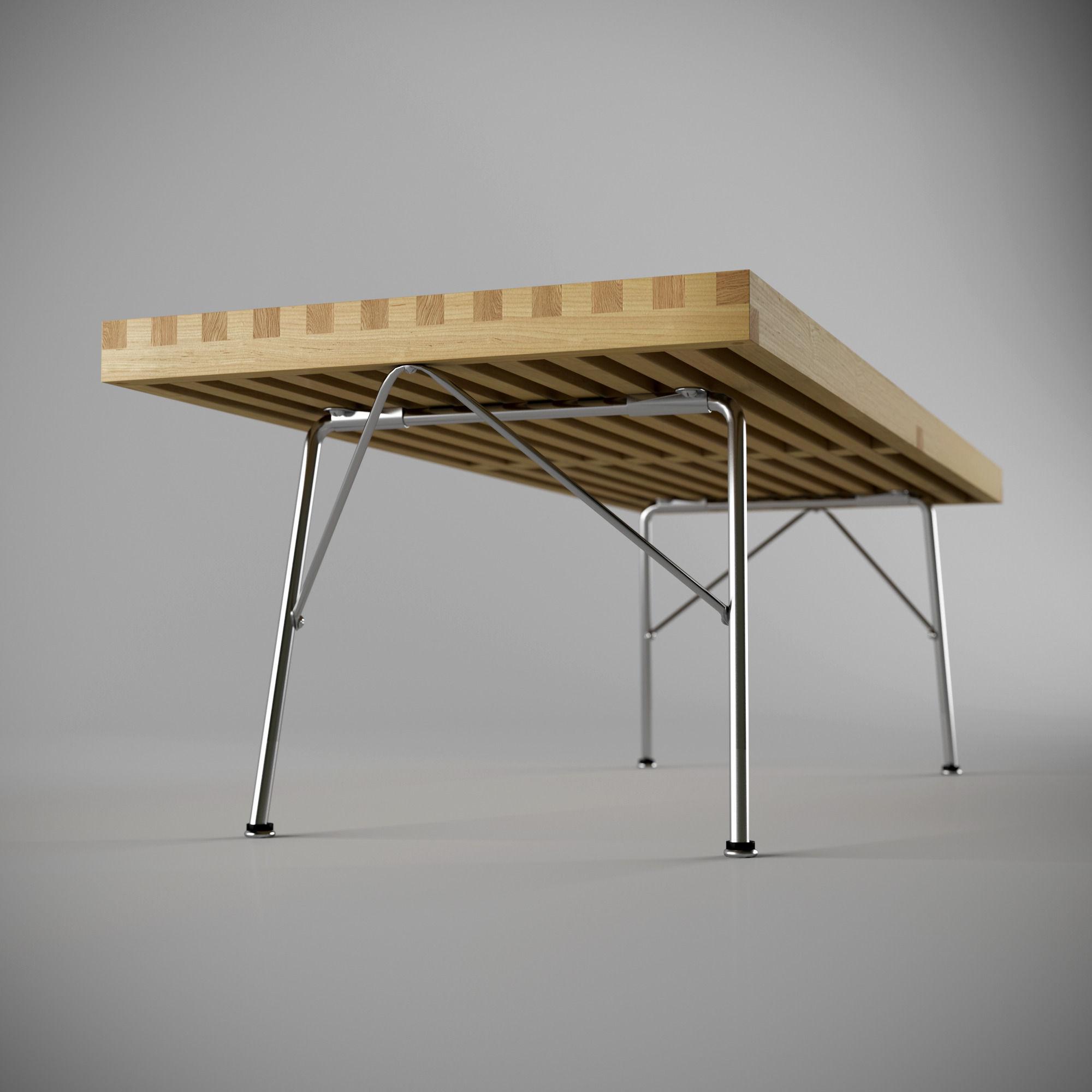 nelson platform bench metal leg 3d model max obj 3ds fbx mtl 1