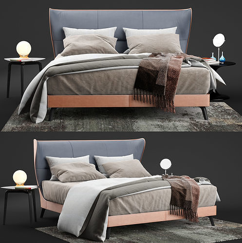 Poltrona Frau Mamy Blue Bed.Poltrona Frau Mamy Blue Bed Leather Frau 3d Model 3d Model