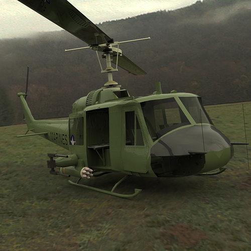 huey helicopter 3d model max obj mtl tga pdf 1