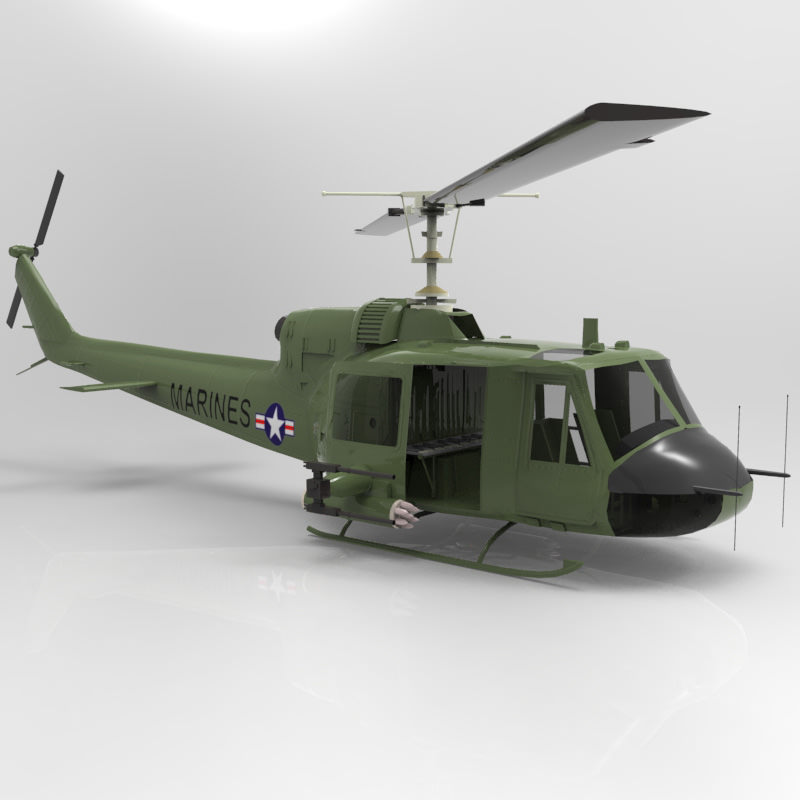 Huey Helicopter 3D Model Rigged MAX OBJ MTL TGA PDF