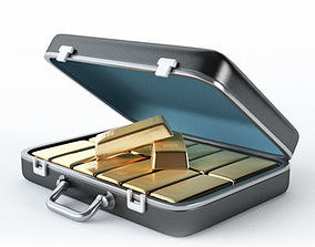 PBR 3D suitcase with gold ingot