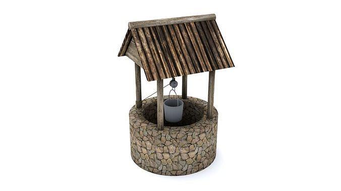 stone well 3d model obj mtl 3ds fbx blend 1