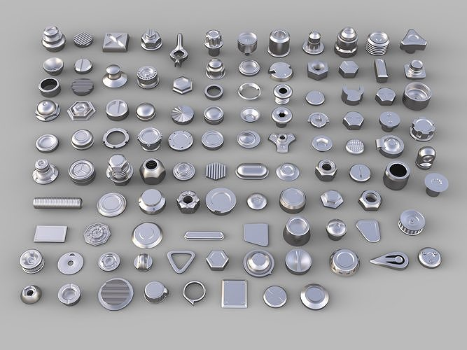 bolts and knobs-part-1 - 106 pieces 3d model max obj mtl fbx stl 1