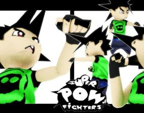 3D asset rigged SUPER POW FIGHTER - CHARACTER 1