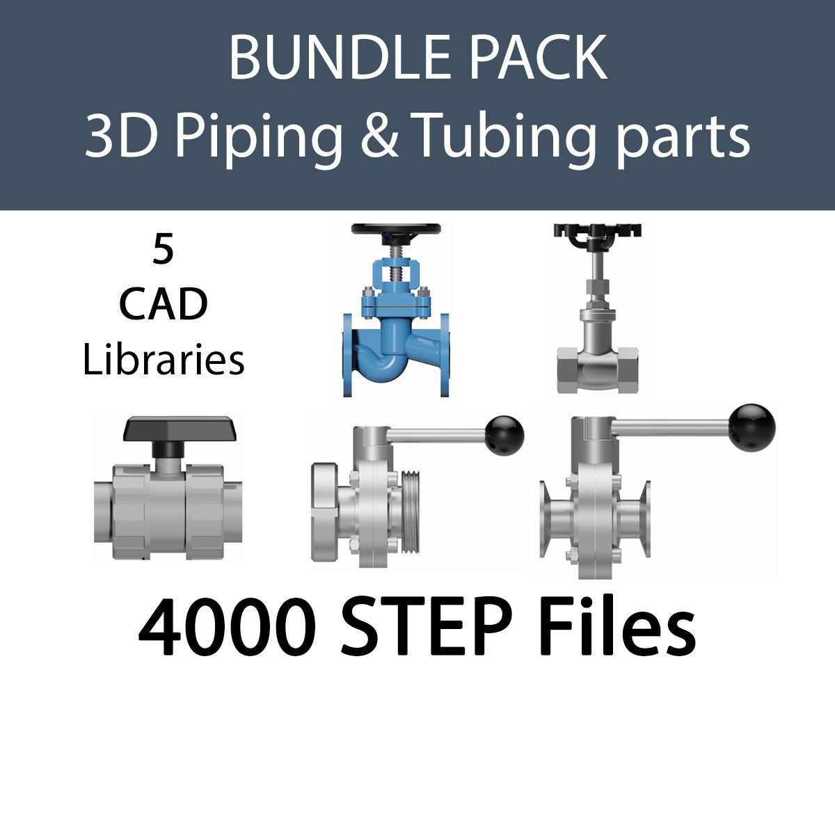 VALVES AND FITTINGS MULTI-PACK FOR PROCESS ENGINEERS - STEP | 3D Model  Collection