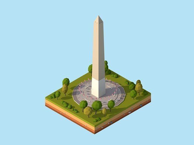 Cartoon Low Poly USA Washington Monument