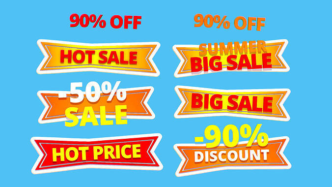 animated subdivision sale discount text logotype sign 3d model max obj mtl fbx ma mb 1