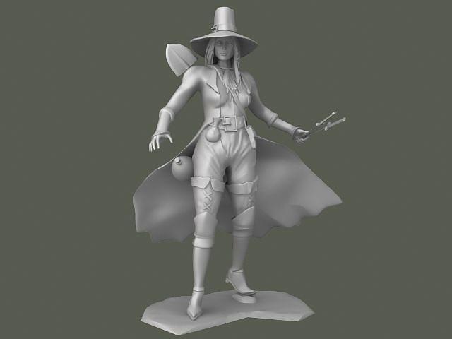 girl knife thrower 3d model obj mtl stl 1