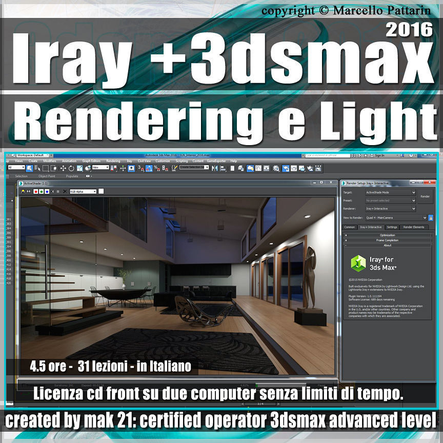 Iray piu in 3dsmax 2016 Rendering e Light Vol 1 Cd Front