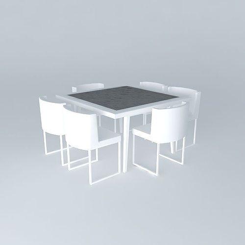kitchen dining set 3d model max obj 3ds fbx stl dae 1