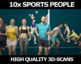 3D model 10x Scanned Gobotree Foreground Sports People 1