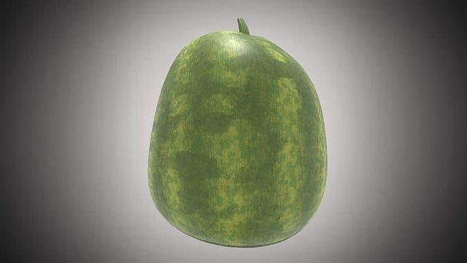 watermelon  3d model low-poly obj mtl 3ds fbx stl ply 1