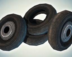 car tires 3d model low-poly max obj 3ds fbx dae