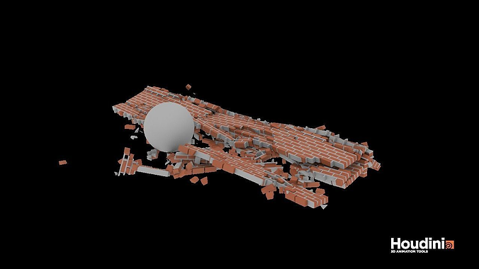 houdini brick destruction asset 3d model rigged animated hda hip bgeo geo bclip clip hipnc 1
