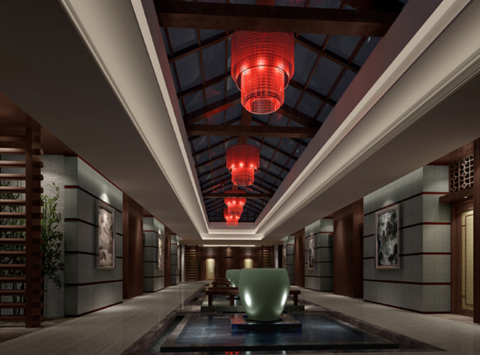 Hall With Red Lighting 3D Model Max