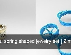 Helical spring shaped jewelry set 3D model