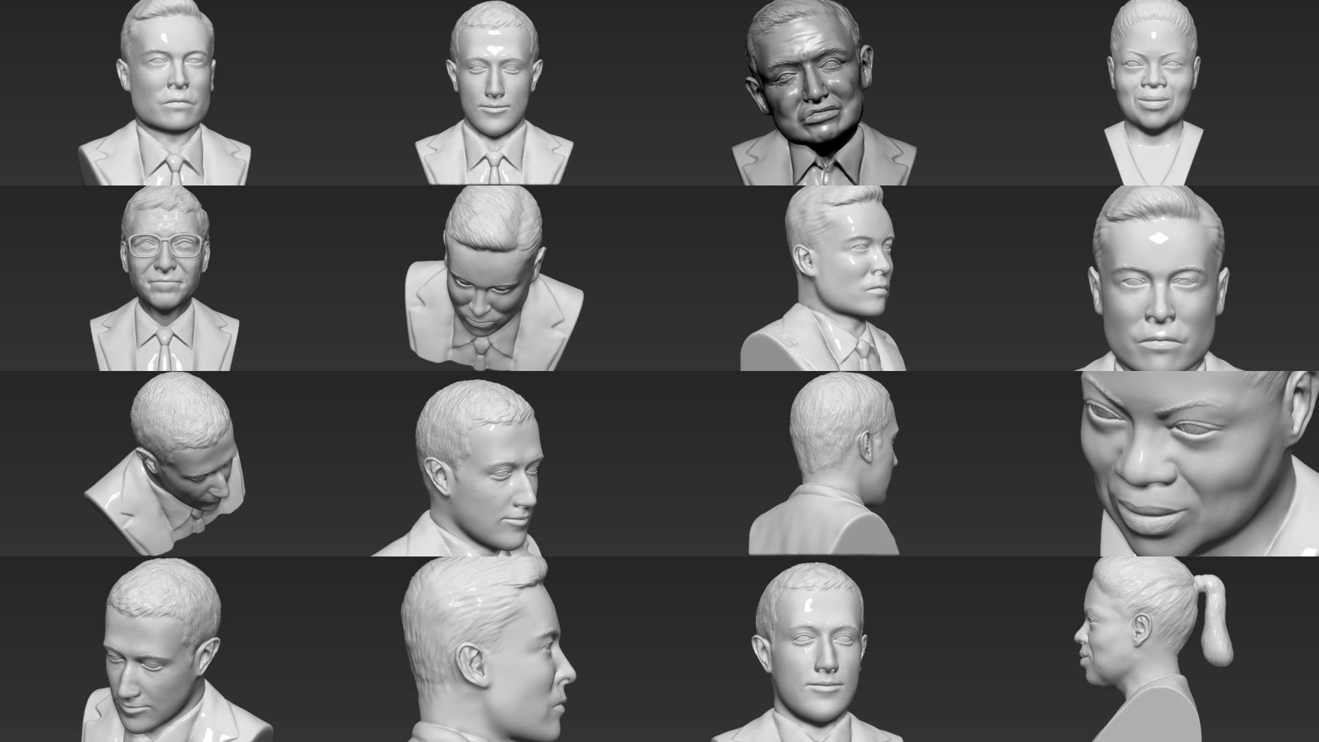 Most Influential People busts 3D printing ready