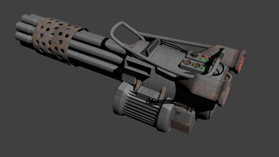 gatling gun 2 3d model obj 3ds fbx stl blend dae