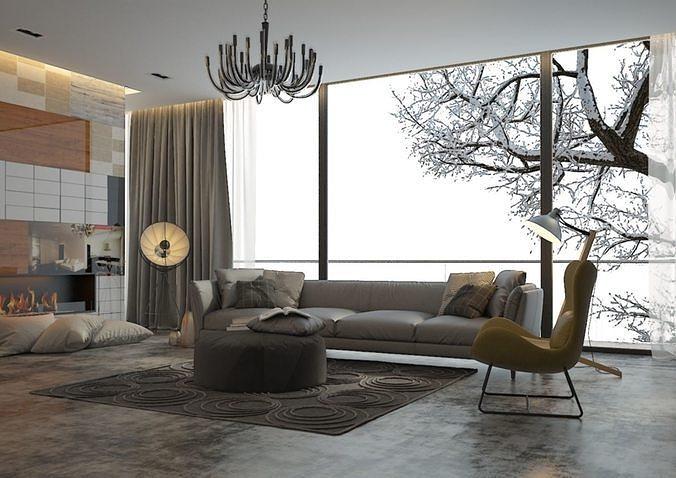 classic living-room 3d model max fbx 1