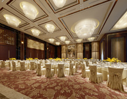 Luxury banquet hall 3D model