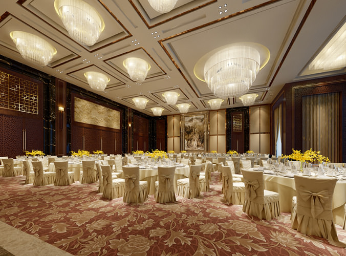 Luxury banquet hall 3D model | CGTrader