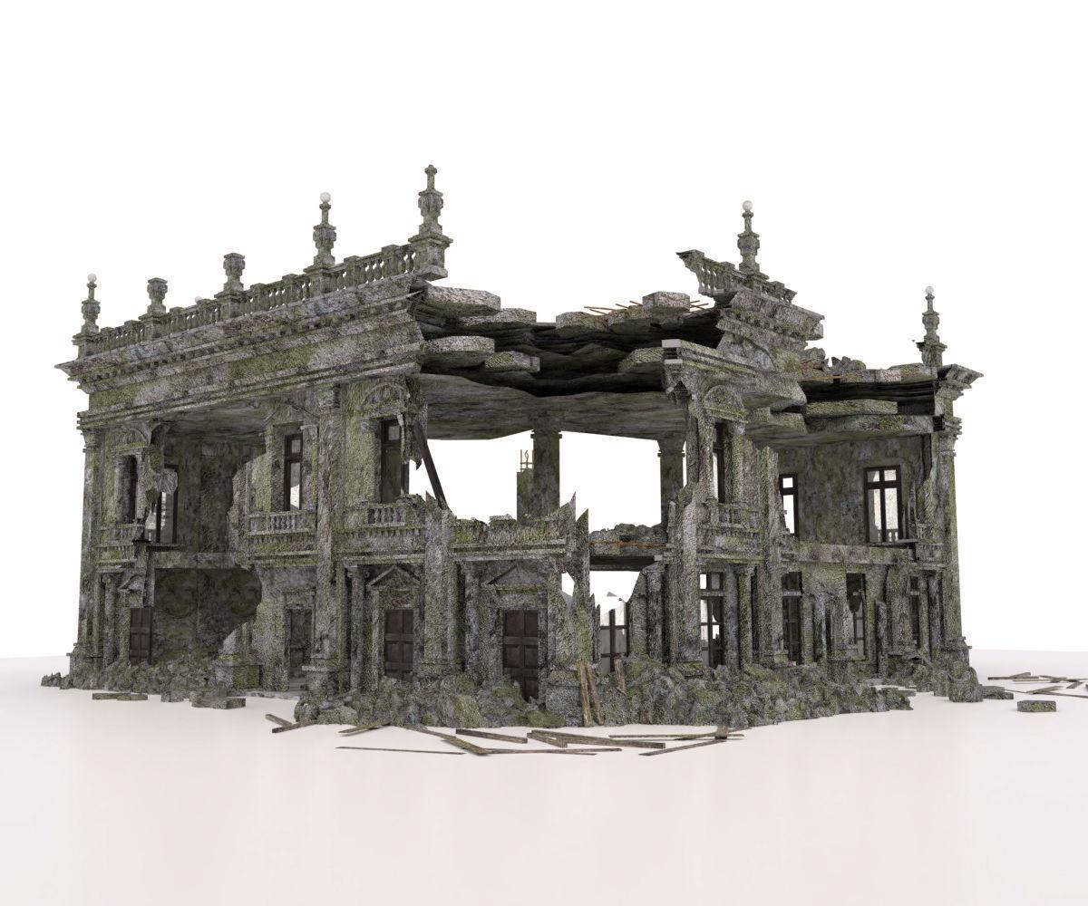 3D Model BUILDING OLD ABANDONED RUINED DESTROYED WAR