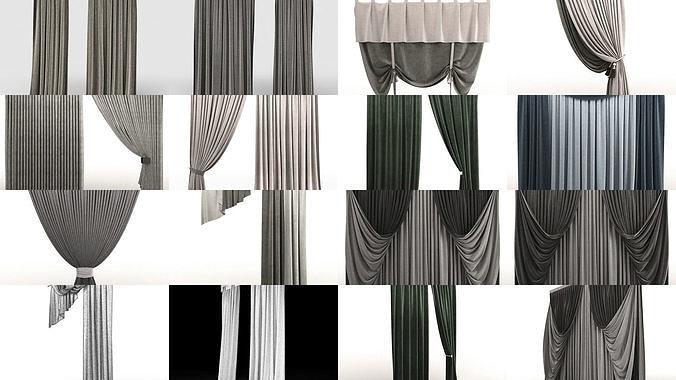 curtains 44 models 3d model max obj mtl fbx 1