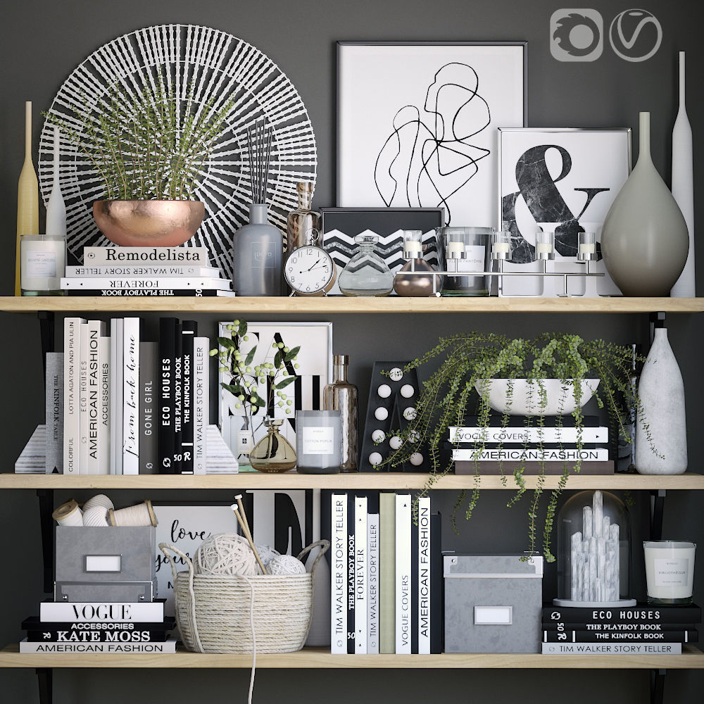 3d Model Books Shelves Decor Set Cgtrader