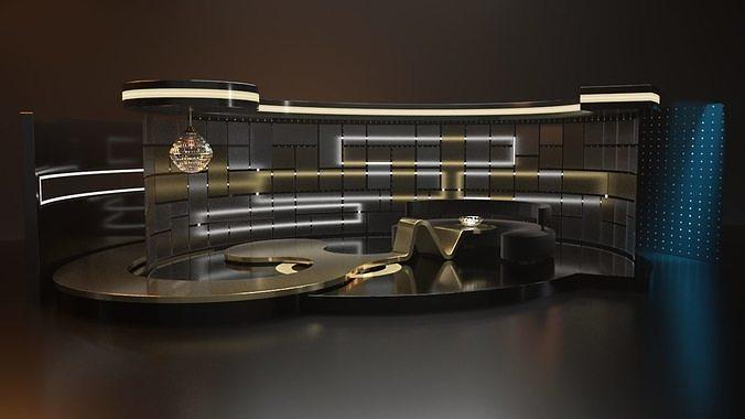 tv set design 3d model obj mtl fbx ma mb mel 1