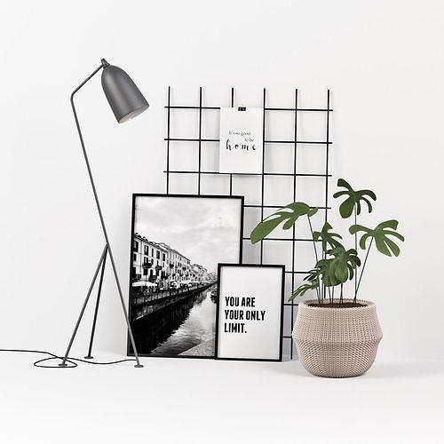 decoration set with lamp 3d model max obj mtl fbx 1