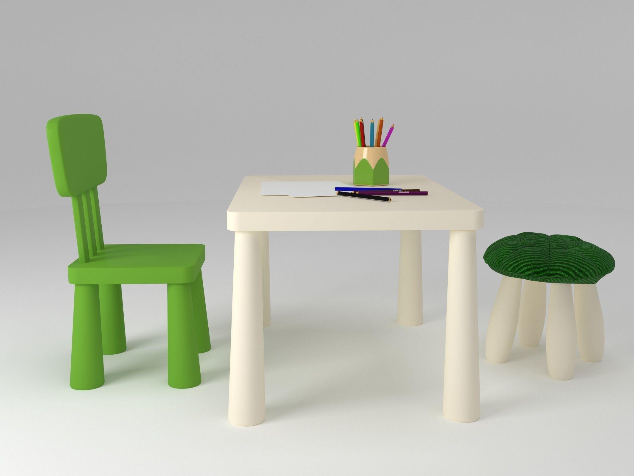 3d Ikea Mammut Furniture Set Model 3d Model Max Obj 3ds Fbx