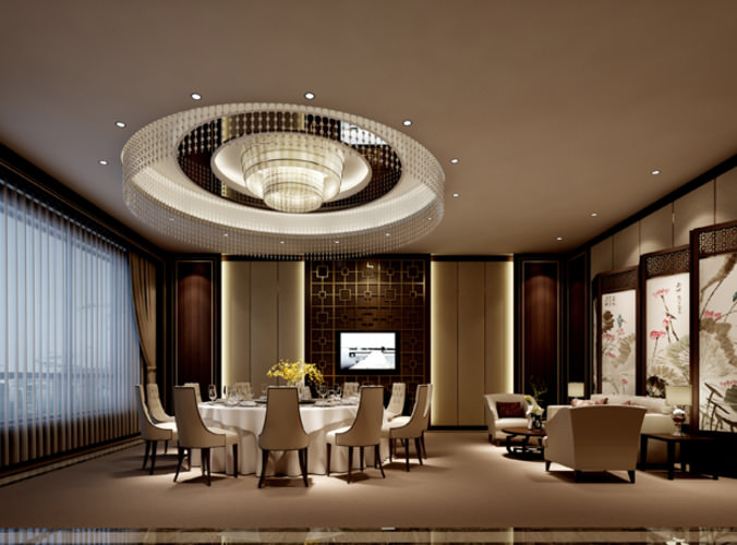 dining room with luxury lighting 3d model max 1
