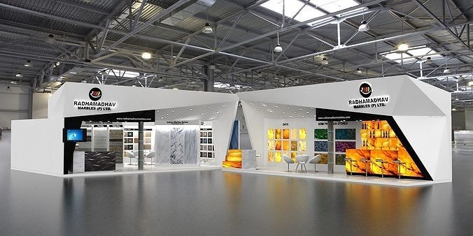 two exhibition stand in one exhibition fair  3d model max 1