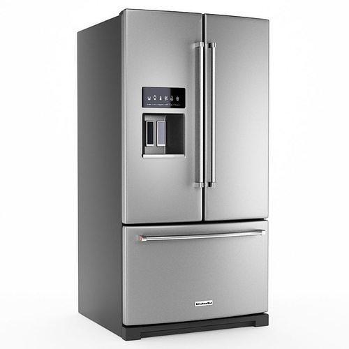 kitchenaid 27 french door refrigerator 3d model max obj mtl 3ds fbx 1