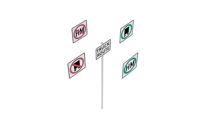 road sign - us - r14 series truck routes 3d model obj mtl 3ds fbx dxf stl dae 1