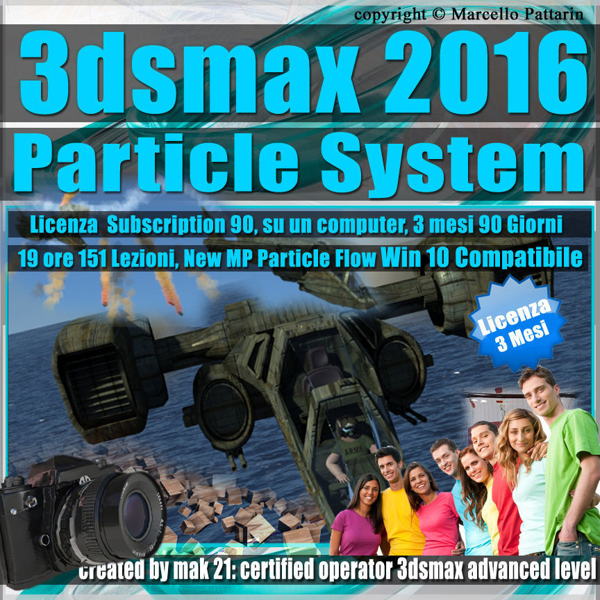 3ds max 2016 Particle System 3 mesi