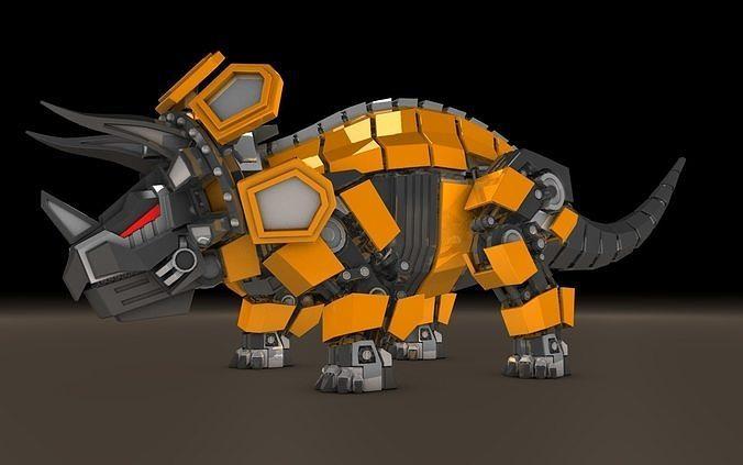 robot triceratops 3d model obj mtl fbx c4d 1