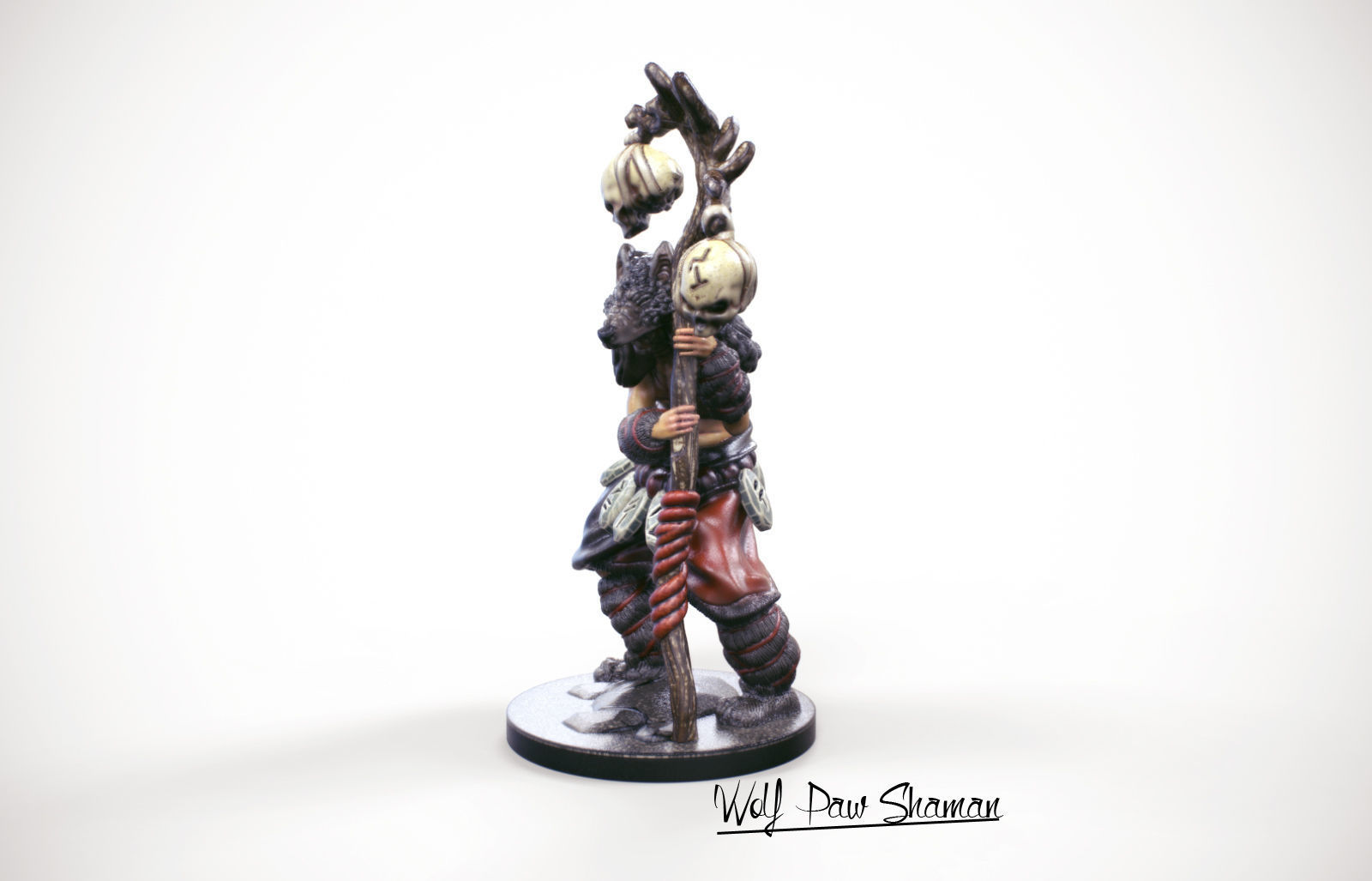 3d Printable miniature Wolf paw Shaman 32mm